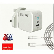 Brave G18 PD 20W Mini Fast Charger With Strong Lightning Cable For Iphones