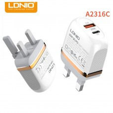 LDNIO A2316C 20W + PD QC 3.0 Charger Power Adapter Set Fast Charging Standard Charger