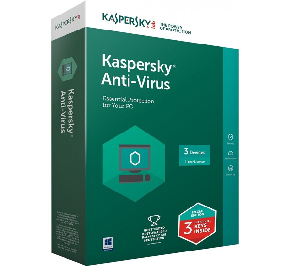 Kaspersky Anti Virus 2018 3 User  + 1 Year Free