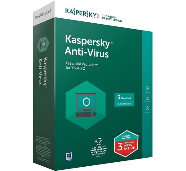 Kaspersky Anti Virus 2018 3 User  + 1 Year Free