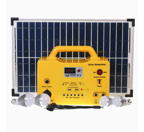 30W Solar Generator(SG1230W) With Solar Panel, Light Bulbs , 12V Outputs & Charging Ports