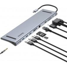 Baseus Enjoyment Series Type-C Notebook HUB Adapter (GrayPD / HDMI / VGA / RJ45 / SD / USB*3 / Adapter )