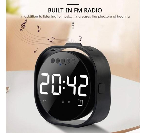 Table Alarm Clock Bluetooth Speaker, Mirror Display FM Radio With TF Card Mini