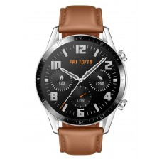 Huawei Watch GT2, 46mm Stainless Steel, Leather Strap, (Color- Brown)