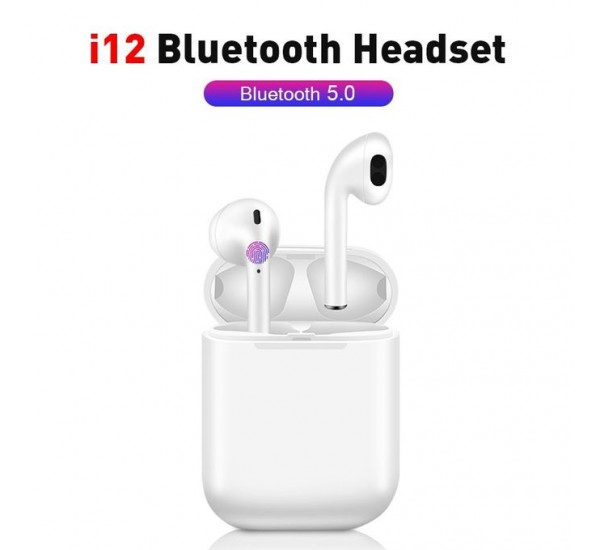 i12 TWS Touch Control Bluetooth Wireless Earphones Earbuds With Mic Charging Case Stereo Sound