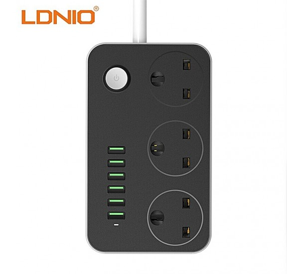 LDNIO Smart 6 USB Fast Charger Adapter 5V 3.4A For Mobile Phone & Grounding Extension Power Socket