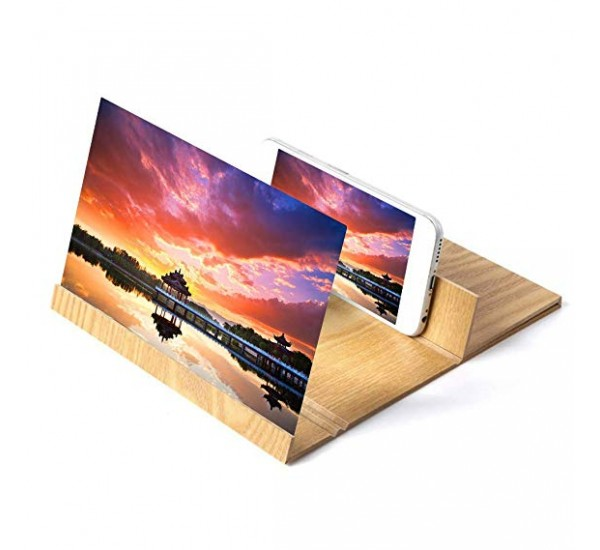 Mobile Phone Screen Magnifier 3D HD Video Amplifier With Wooden Folding Enlarged Expander Stand