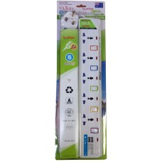 Power Maxma MX53 Extension Cable 5 meter 5 port with 2 USB Socket Surge Protector