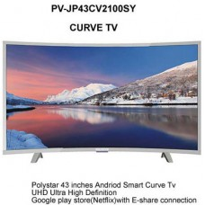 "Polystar 43"" Smart Curve TV (PV-JP43CV2100SY) Youtube, Netflix Full HD HDMI Android 9"