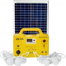 Solar Generator SG 1220 - 20W DC With Fm Radio, USB Charging, 4 LED Bulbs