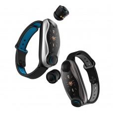 T90 TWS Bluetooth Earphone headset With Smart Watch , Siri Fitness Bracelet Health Tracker Multi-Sport