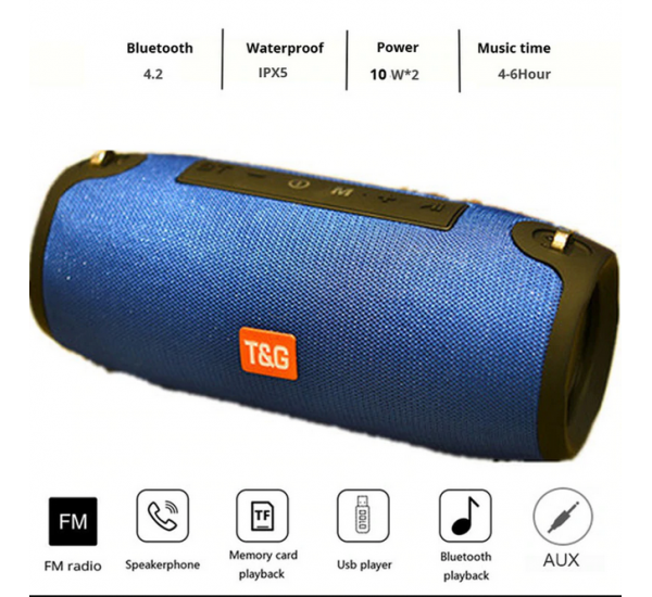 High Power 20W TG 118 Wireless Bluetooth Speaker Music Player Boom Box with FM Radio AUX TF