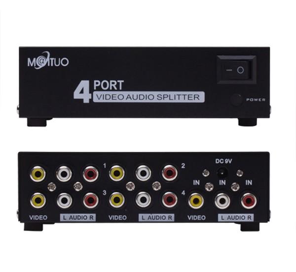 4 Ports Video Audio Splitter